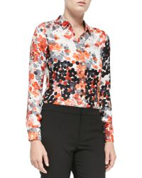 RED Valentino Long-sleeve Abstract Flower Blouse - Lyst