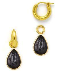 Elizabeth Locke - Black Intaglio 19k Gold Teardrop Earring Pendants - Lyst