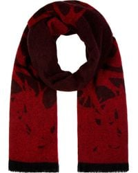 McQ by Alexander McQueen Red and Black Wool Swallow Silhouette Scarf - Lyst