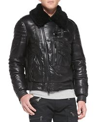 Ralph Lauren Black Label Leather Moto Jacket with Shearling Collar - Lyst