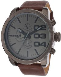 Diesel Mens Chronograph Gunmetal Dial Brown Genuine Leather - Lyst