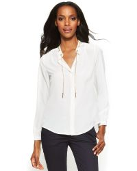 Michael Kors Michael Petite Lace-Up Belted Shirt - Lyst