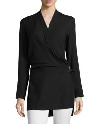 Helmut Lang Ascend Belted Wrap Tunic - Lyst