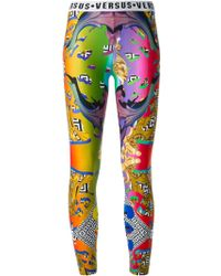 Versus  Graphic Print Leggings - Lyst