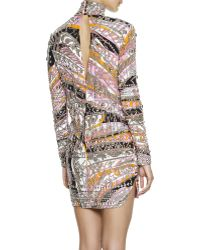 Emilio Pucci Longsleeve Studded Printed Sheath Dress - Lyst