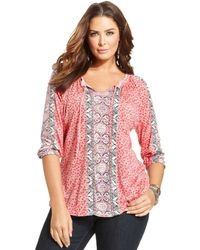 Lucky Brand Jeans Plus Size Printed Peasant Top - Lyst