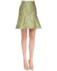 Zac Posen Floral Jacquard Fit and Flare Skirt - Lyst