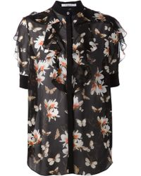 Givenchy Sheer Floral Print Blouse - Lyst