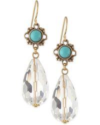 Stephen Dweck - Turquoise Flower & Natural Quartz Briolette Drop Earrings - Lyst