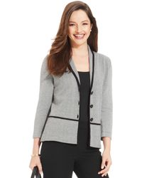 Jones New York Petite Three Quarter Sleeve Blazer - Lyst