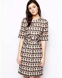 Peter Jensen Diana Ross Dress with Knot Front - Lyst