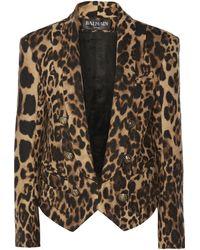 Balmain Leopard-Print Wool-Blend Blazer - Lyst