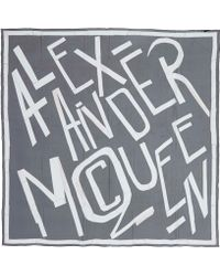 Alexander McQueen Black And White Bi-Colour Logo Silk Scarf - Lyst