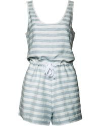 Solid & Striped Sleeveless Striped Romper blue - Lyst