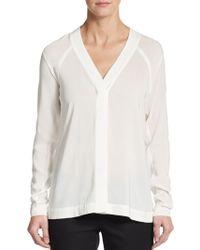 Donna Karan New York V-Neck Blouse white - Lyst