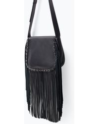 Zara Leather Messenger Bag with Fringing - Lyst