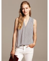 Banana Republic Micro Stripe V Neck Blouse White - Lyst