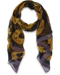 Versace Black and Gold Baroque Silk Chiffon Scarf - Lyst
