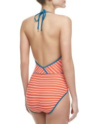 Marc By Marc Jacobs Tara Striped Deepv Maillot Vibrant Red Large12 - Lyst