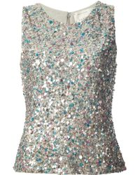 Nicole Miller Sequin Embellished Sleeveless Blouse - Lyst