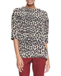 Etro Leopard-print Elbow-sleeve Top - Lyst