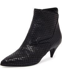 Saint Laurent Snake-Embossed Low-Heel Ankle Boot - Lyst