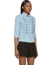 Balmain Light Blue Denim Jacket - Lyst