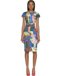 Mary Katrantzou Dark Green Jungle Palette Print Scuba Dress - Lyst