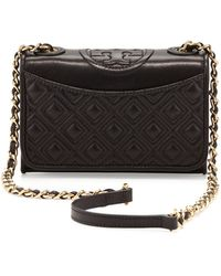 Tory Burch Fleming Quilted Mini Flap Shoulder Bag  - Lyst