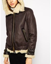 Asos Jacket In Faux Shearling With Hood - Lyst