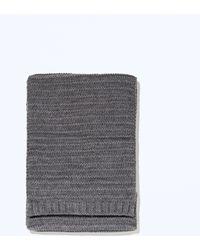 Zara Gray Knit Scarf - Lyst