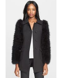 RED Valentino Wool Coat With Maribou Feather Sleeves black - Lyst