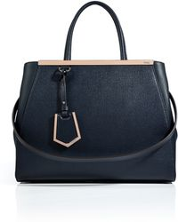Fendi Leather 2jours Tote in Blackboardblush - Lyst