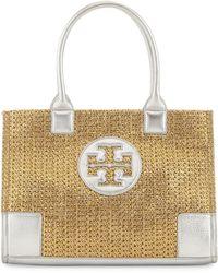 Tory Burch Ella Mini Metallic Straw Tote Bag Gold - Lyst