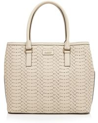 DKNY Tote - Large Square Perforated Python-Embossed - Lyst