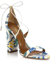 Aquazzura | Lily Printed Leather Sandals | Lyst