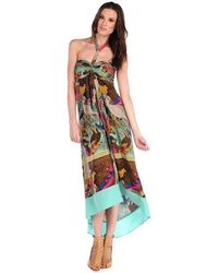 Twelfth Street by Cynthia Vincent Parrot Scarf Halter Dress - Lyst