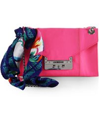 Love Moschino Flap Shoulder Bag With Logo Scarf - Lyst