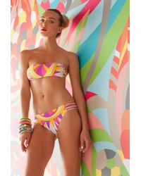 Trina Turk Fiji Feathers Shirred Side Hipster pink - Lyst