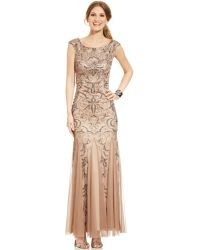 Adrianna Papell Capsleeve Beaded Mermaid Gown - Lyst