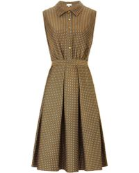 Suno Multi Polka Jacquard Pleated Dress - Lyst