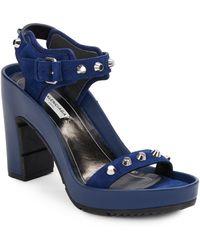 Balenciaga | Studded Suede Open-toe Platform Sandals | Lyst