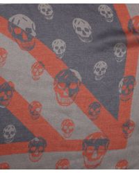Alexander McQueen Blue And Red Union Jack And Skull Print Scarf - Lyst