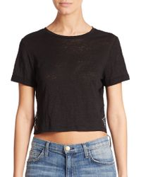Alice + Olivia Lace-Paneled Cropped Linen Tee - Lyst