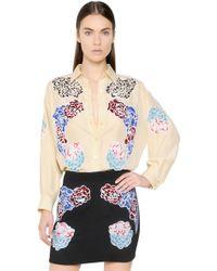 Stella McCartney Embroidered Parachute Silk Shirt - Lyst