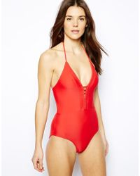 French connection Exclusive To Asos Sophie Backless Swimsuit - Lyst