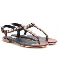 Balenciaga Giant Stud Texturedleather Sandals - Lyst