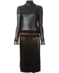 Ferragamo Pleated Sweater Dress - Lyst