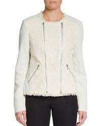 Rebecca Taylor Paneled Tweed Fringe Zip Jacket - Lyst