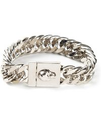 Alexander McQueen Silver Skull Bracelet - Lyst
